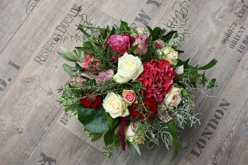 Blumenstrauss mit Rosen und Hortensie, Foto Birgit Puck